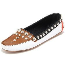 8445I PRADA scarpa donna mocassino loafer shoes women marrone panna nero