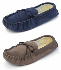 Mens Mokkers Real Suede Faux Sheepskin Leather Moccasin Slippers BROWN BLUE 6-13