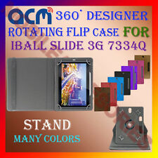 "ACM-DESIGNER ROTATING 360° 7"" COVER CASE STAND for IBALL SLIDE 3G 7334Q TABLET"