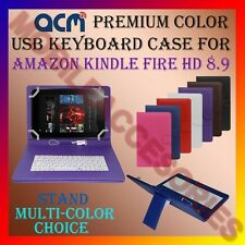 "ACM-USB COLOR KEYBOARD 9"" CASE for AMAZON KINDLE FIRE HD 8.9 TABLET COVER STAND"