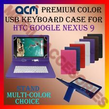 """ACM-USB COLOR KEYBOARD 9"""" CASE for HTC GOOGLE NEXUS 9 TABLET LEATHER COVER STAND"""