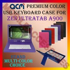 """ACM-USB COLOR KEYBOARD 9"""" CASE for ZEN ULTRATAB A900 TABLET LEATHER COVER STAND"""