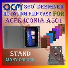 """ACM-DESIGNER ROTATING 360° 10"""" COVER CASE STAND for ACER ICONIA A501 TABLET TAB"""