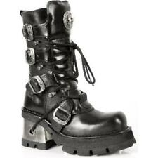 NEWROCK 373 S3 Ladies Women Black Leather Heel Gothic Punk New Rock Biker Boots