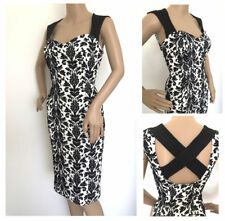 Definitions Black White Flock Bodycon Wiggle Party Dress New Size 10 - 20