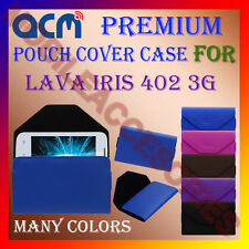 ACM-PREMIUM POUCH LEATHER CARRY CASE for LAVA IRIS 402 3G MOBILE COVER HOLDER