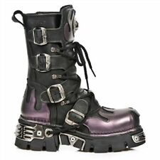 New Rock 591-S5 Purple Flame Metal Black Leather Heavy Punk Gothic Boots newrock
