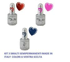 KIT 3 SMALTI SEMIPERMANENTI MADE IN ITALY 17 ML  NO ACIDI RICOSTRUZIONE UNGHIE