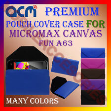 ACM-PREMIUM POUCH LEATHER CARRY CASE for MICROMAX CANVAS FUN A63 MOBILE COVER