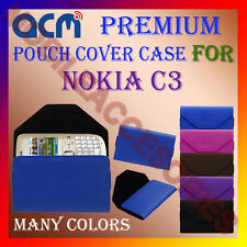 ACM-PREMIUM POUCH LEATHER CARRY CASE for NOKIA C3 MOBILE COVER HOLDER PROTECTION