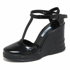 5986N decollete zeppa PRADA scarpe donna shoes woman nero