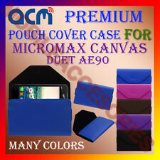 ACM-PREMIUM POUCH LEATHER CARRY CASE for MICROMAX CANVAS DUET AE90 MOBILE COVER