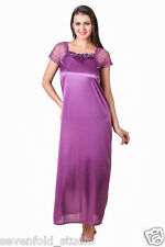 SevenFold Women Satin Purple Color One Piece Nighty, Night Suit, Night dress