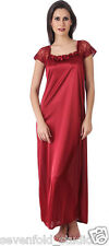 SevenFold Women Satin Maroon Color One Piece Nighty, Night Suit, Night dress