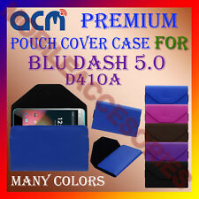 ACM-PREMIUM POUCH LEATHER CARRY CASE for BLU DASH 5.0 D41OA MOBILE COVER HOLDER