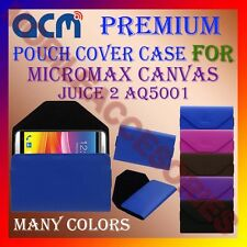 ACM-PREMIUM POUCH LEATHER CARRY CASE for MICROMAX CANVAS JUICE 2 AQ5001 COVER