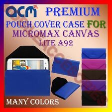 ACM-PREMIUM POUCH LEATHER CARRY CASE for MICROMAX CANVAS LITE A92 MOBILE COVER