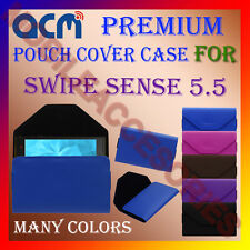 ACM-PREMIUM POUCH LEATHER CARRY CASE for SWIPE SENSE 5.5 MOBILE COVER HOLDER NEW