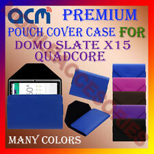 ACM-PREMIUM POUCH LEATHER CARRY CASE for DOMO SLATE X15 QUADCORE TABLET COVER