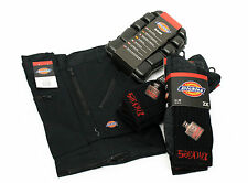 Black Redhawk Mens Dickies Trousers, Knee Pads & 2 PACKS Industrial Work Socks