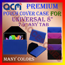 "ACM-PREMIUM POUCH LEATHER CARRY CASE for UNIVERSAL 8"" 7.9"" ANY TAB COVER HOLDER"