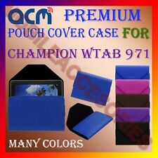 ACM-PREMIUM POUCH LEATHER CARRY CASE for CHAMPION WTAB 971 TABLET HOLDER COVER
