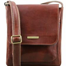 TUSCANY LEATHER borsello uomo in pelle a tracolla tasca frontale made in Italy