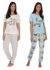 Ladies Womens Short Sleeve Jersey Printed PJ with Printed Jersey Cuffed Pants