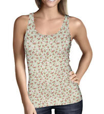 Shabby Chic Roses on Green Ladies Tank Top - Sizes XS-5XL