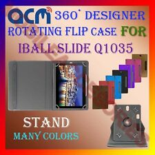 "ACM-DESIGNER ROTATING 360° 10"" COVER CASE STAND for IBALL SLIDE Q1035 TABLET TAB"