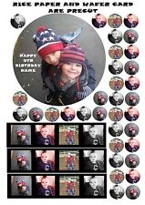 "PERSONALISED 7.5"" ROUND PHOTO EDIBLE CAKE CUPCAKE TOPPER CUSTOM MADE & RIBBONS"