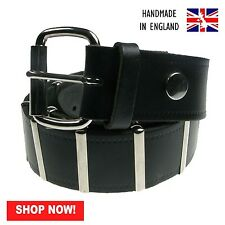 Black metal bars removable buckle press stud belt handmade in england
