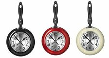 Kitchen Wall Clock Frying Pan Small Novelty Design Metal And Plastic