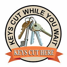 KEYS CUT HERE SIGN Catering shop Sign Window sticker Cafe Restaurant decal