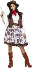 LADIES FANCY DRESS ADULT COWGIRL WILD WEST WESTERN RODEO COSTUME OUTFIT & HAT