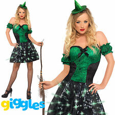 Light Up Witches Costume Womens Ladies Sexy Halloween Witch Fancy Dress Outfit