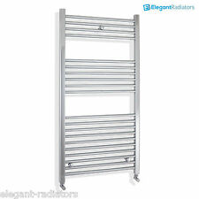 600 mm Wide 1200 mm High Flat Chrome Heated Towel Rail Radiator Electric & Gas