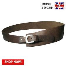 Ladies Full Grain Brown Hide 100% Real Leather Hipster Belt Made In England