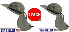 2 PACK Outdoor Fish Camping Hunting Boonie Snap Hat Brim Cap Ear Neck Cover Sun