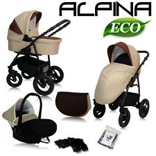 ALPINA ECO LEATHER + LINEN TRAVEL SYSTEM PRAM PUSHCHAIR SWIVEL WHEELS 7 COLOURS!