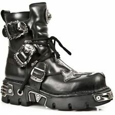NEWROCK New Rock 407-S1 Silver Cross Black Gothic Biker Boot Leather Boots