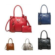 Ladies H Buckle Leather Style Designer Womens Shoulder Bag with FREE Purse