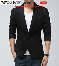 Mens Black slim fit blazer suit coat jacket+Slim Tie+Pocket Square+Hanger+Cover