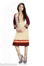Fashionuma Designer Casual Wear Cotton Cream Kurti