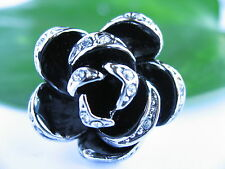 Black Rose 18K Platinum Polished plated Unique Rings Jewellery Gift