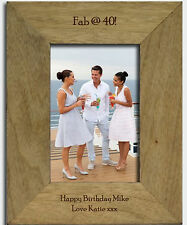 PERSONALISED Engraved Birthday Age Wooden Photo Frame Gifts For Her Him