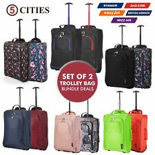 Twin Set Fits 56x45x25 EasyJet Trolley Cabin Approved 2Wheeled Hand Hold Luggage