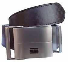 Synthetic leather brown men belt with double stitching and auto lock buckle