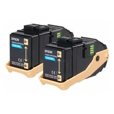 GENUINE EPSON S050608 / C13S050608 CYAN LASER PRINTER TONER CARTRIDGE TWIN PACK