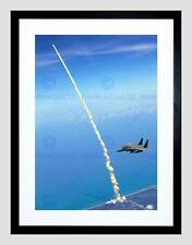 FW STRIKE EAGLES ASSIST SPACE SHUTTLE LAUNCH BLACK FRAMED ART PRINT B12X1812